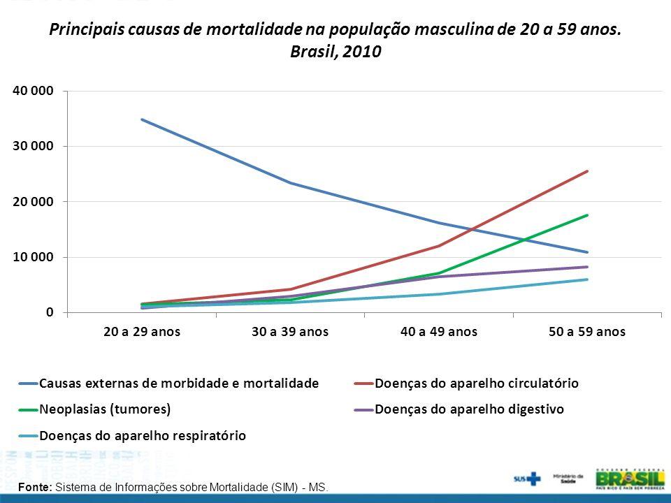 Principais causas de mortalidade na população masculina de 20 a 59 anos.