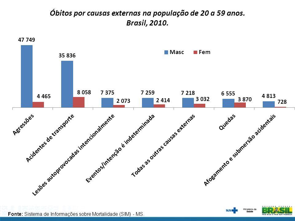 Óbitos por causas externas na população de 20 a 59 anos. Brasil, 2010.