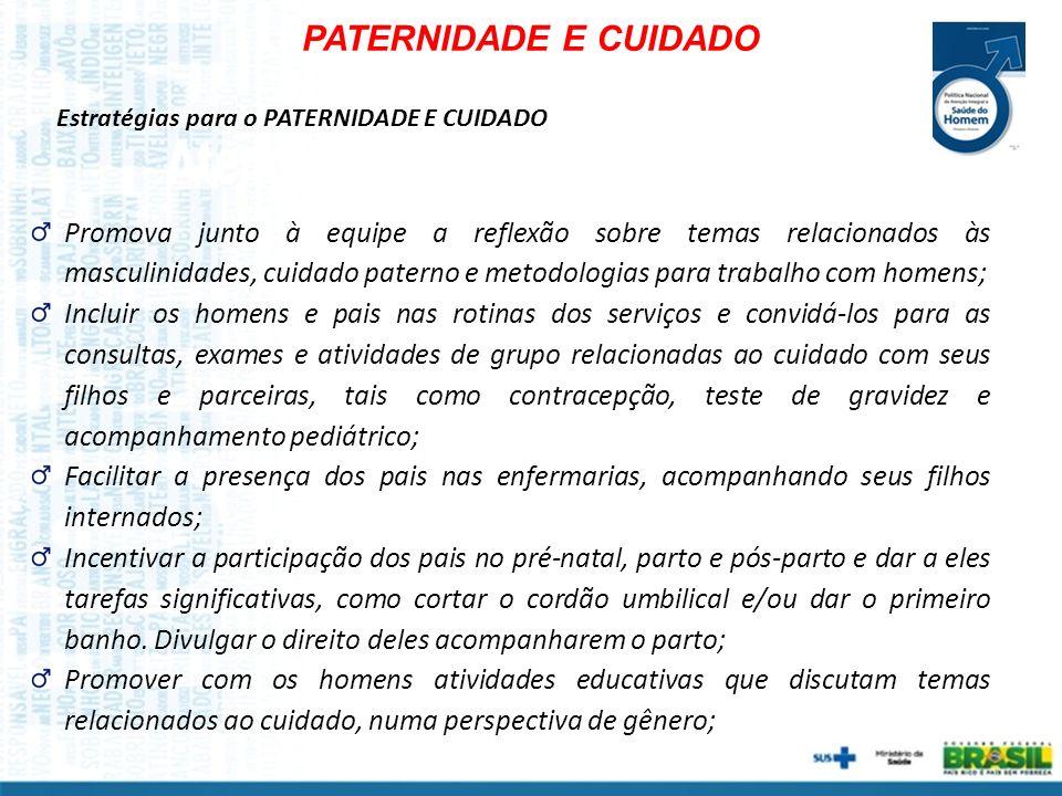 PATERNIDADE E CUIDADO Estratégias para o PATERNIDADE E CUIDADO.