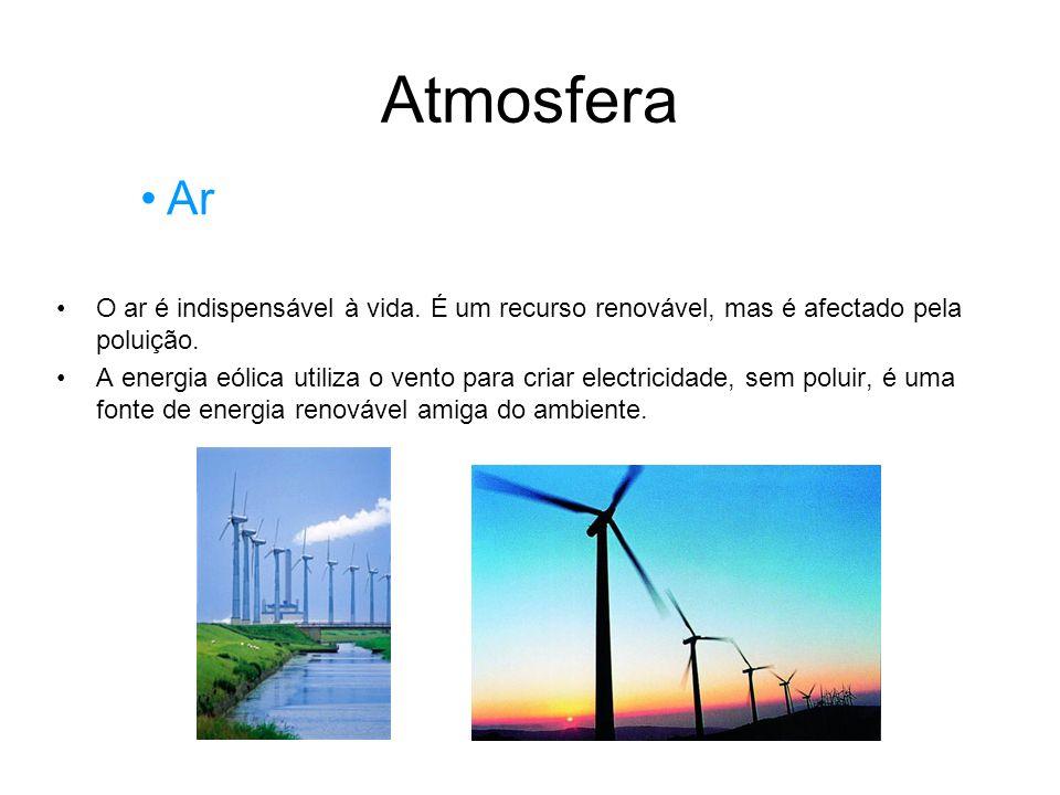 Atmosfera Ar. O ar é indispensável à vida. É um recurso renovável, mas é afectado pela poluição.
