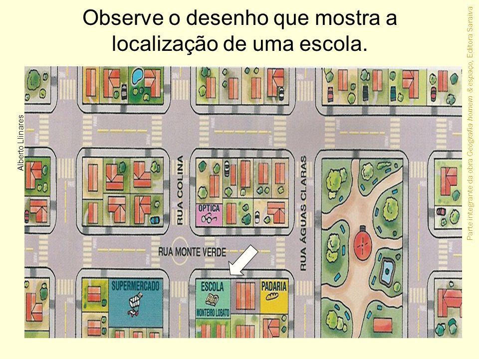 Observe o desenho que mostra a localização de uma escola.