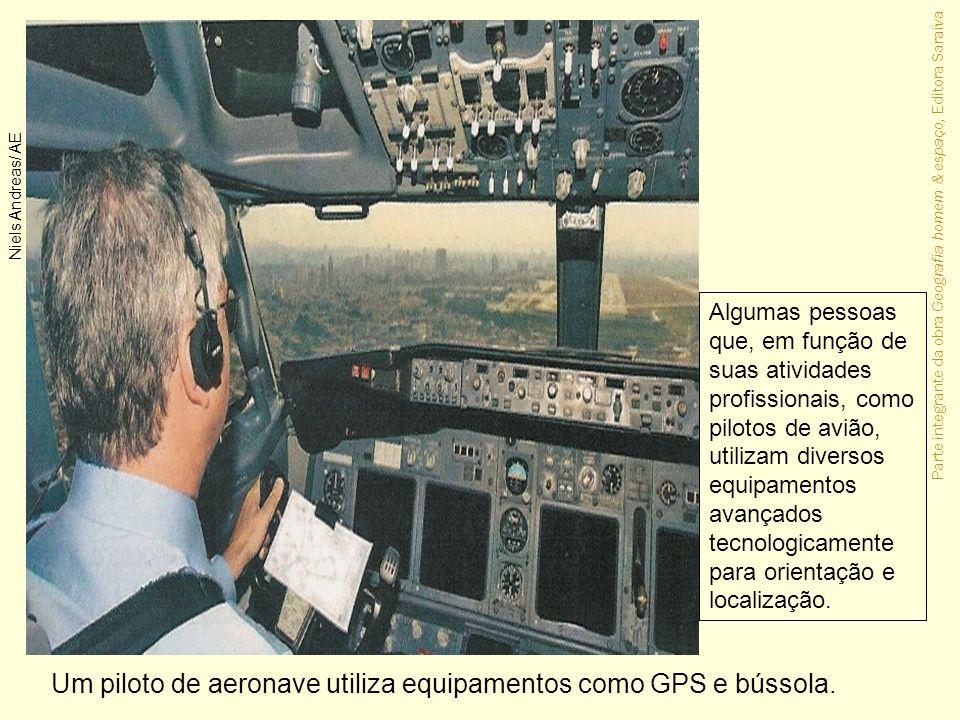 Um piloto de aeronave utiliza equipamentos como GPS e bússola.