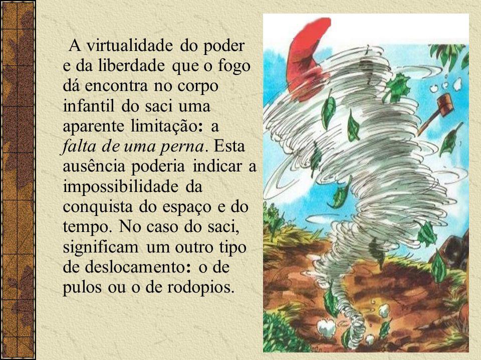 A virtualidade do poder e da liberdade que o fogo dá encontra no corpo infantil do saci uma aparente limitação: a falta de uma perna.