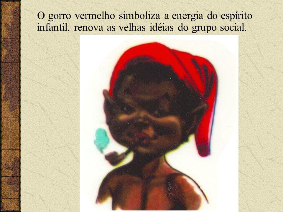 O gorro vermelho simboliza a energia do espírito infantil, renova as velhas idéias do grupo social.