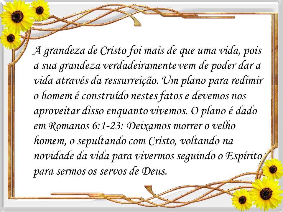 A grandeza de Cristo foi mais de que uma vida, pois a sua grandeza verdadeiramente vem de poder dar a vida através da ressurreição.