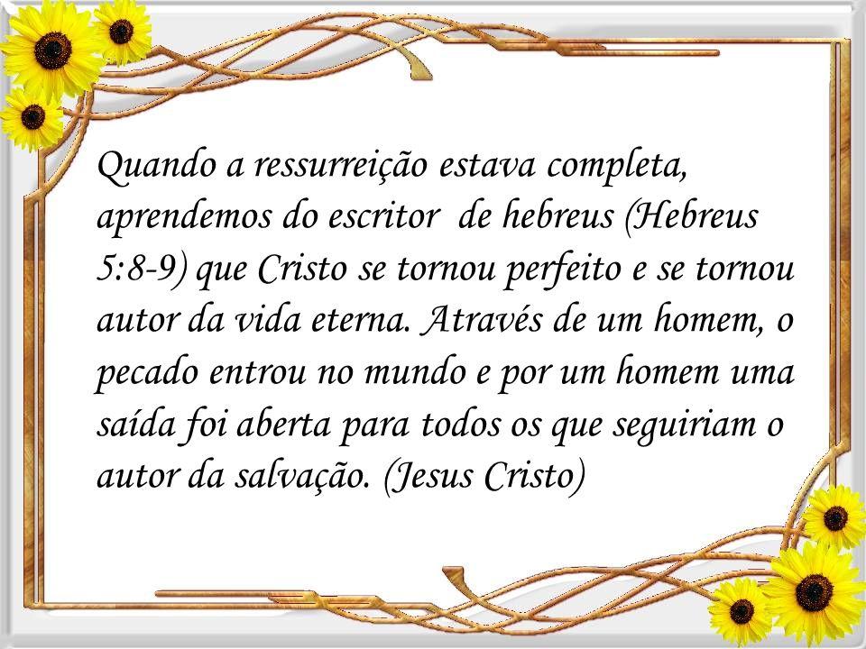 Quando a ressurreição estava completa, aprendemos do escritor de hebreus (Hebreus 5:8-9) que Cristo se tornou perfeito e se tornou autor da vida eterna.