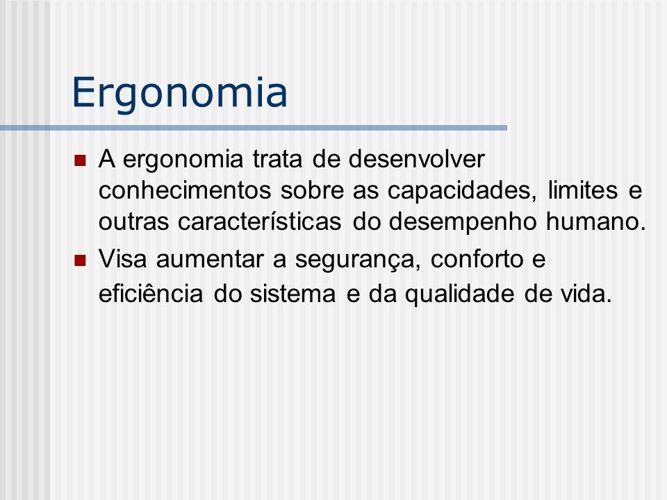 Ergonomia A ergonomia trata de desenvolver conhecimentos sobre as capacidades, limites e outras características do desempenho humano.