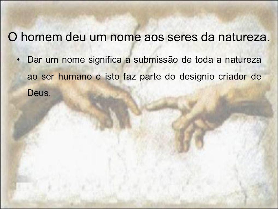 O homem deu um nome aos seres da natureza.