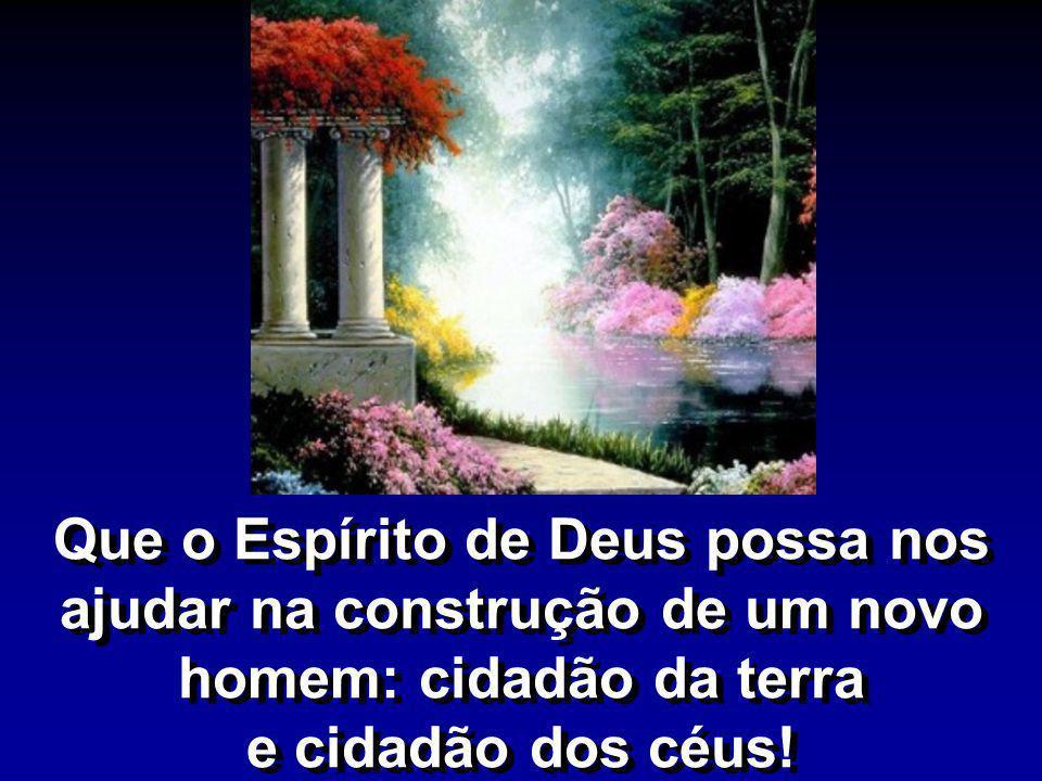 Que o Espírito de Deus possa nos ajudar na construção de um novo homem: cidadão da terra e cidadão dos céus!
