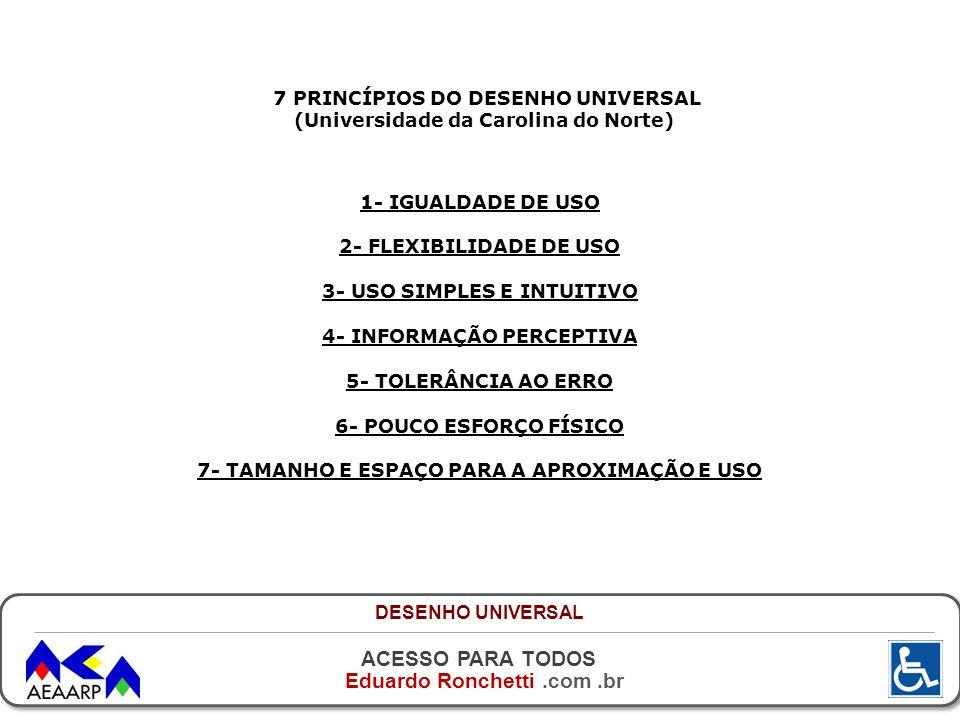 7 PRINCÍPIOS DO DESENHO UNIVERSAL (Universidade da Carolina do Norte)