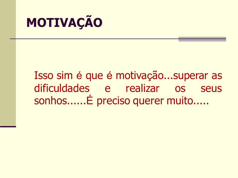 MOTIVAÇÃO Isso sim é que é motivação...superar as dificuldades e realizar os seus sonhos......É preciso querer muito.....