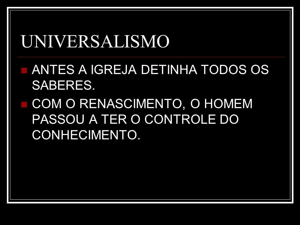 UNIVERSALISMO ANTES A IGREJA DETINHA TODOS OS SABERES.