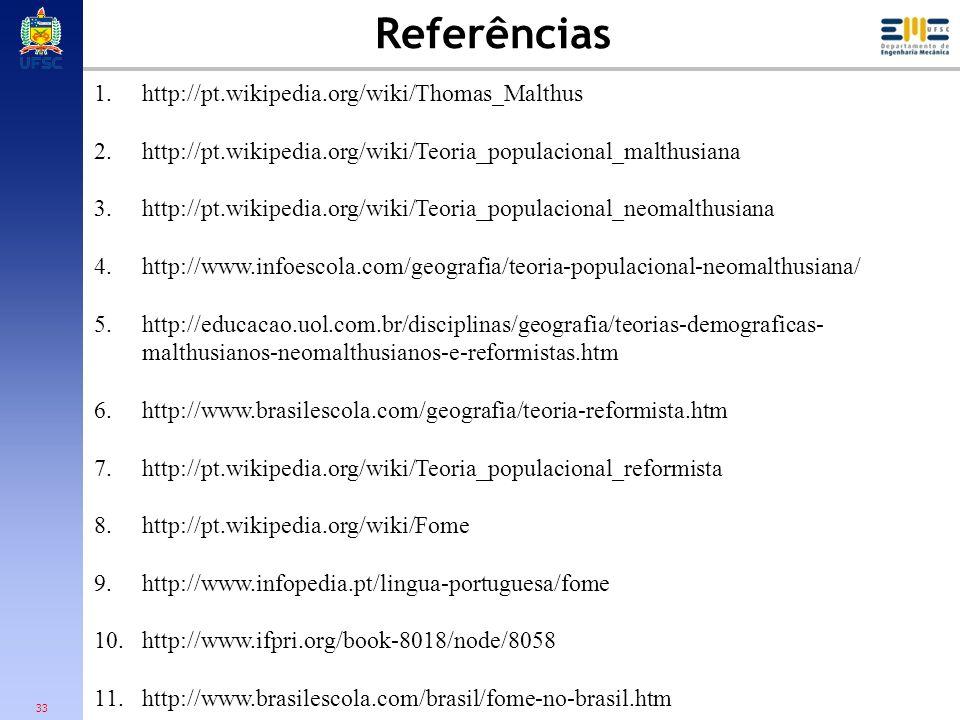 Referências http://pt.wikipedia.org/wiki/Thomas_Malthus