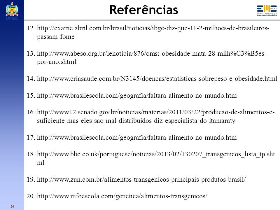 Referências http://exame.abril.com.br/brasil/noticias/ibge-diz-que-11-2-milhoes-de-brasileiros-passam-fome.