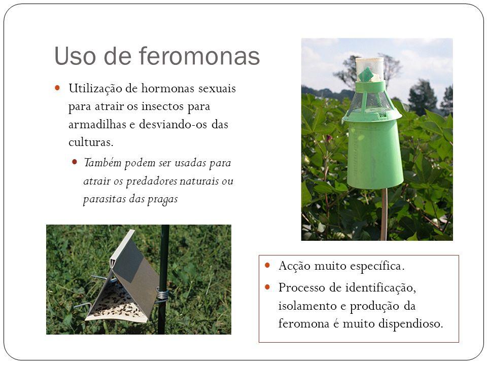 Uso de feromonas Utilização de hormonas sexuais para atrair os insectos para armadilhas e desviando-os das culturas.