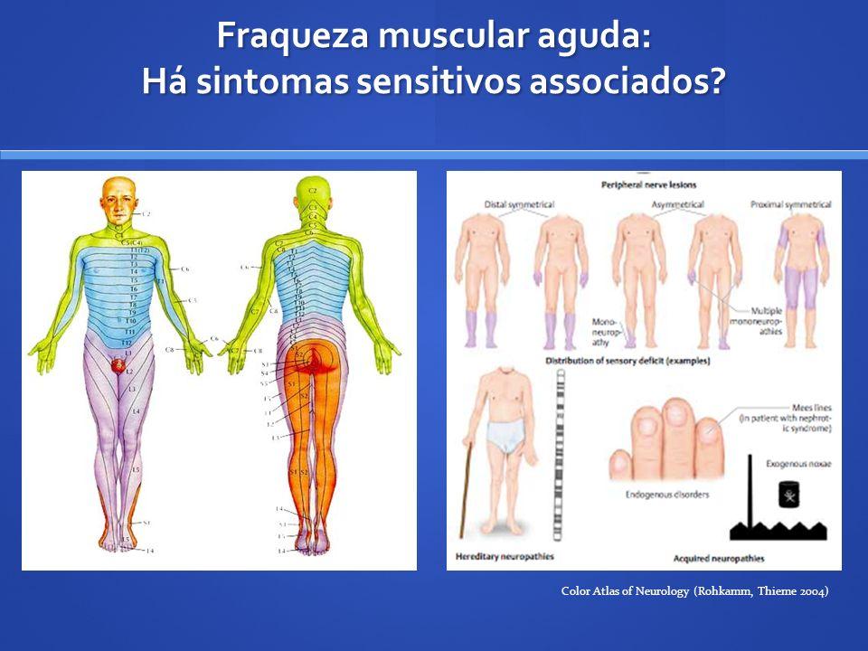 Fraqueza muscular aguda: Há sintomas sensitivos associados