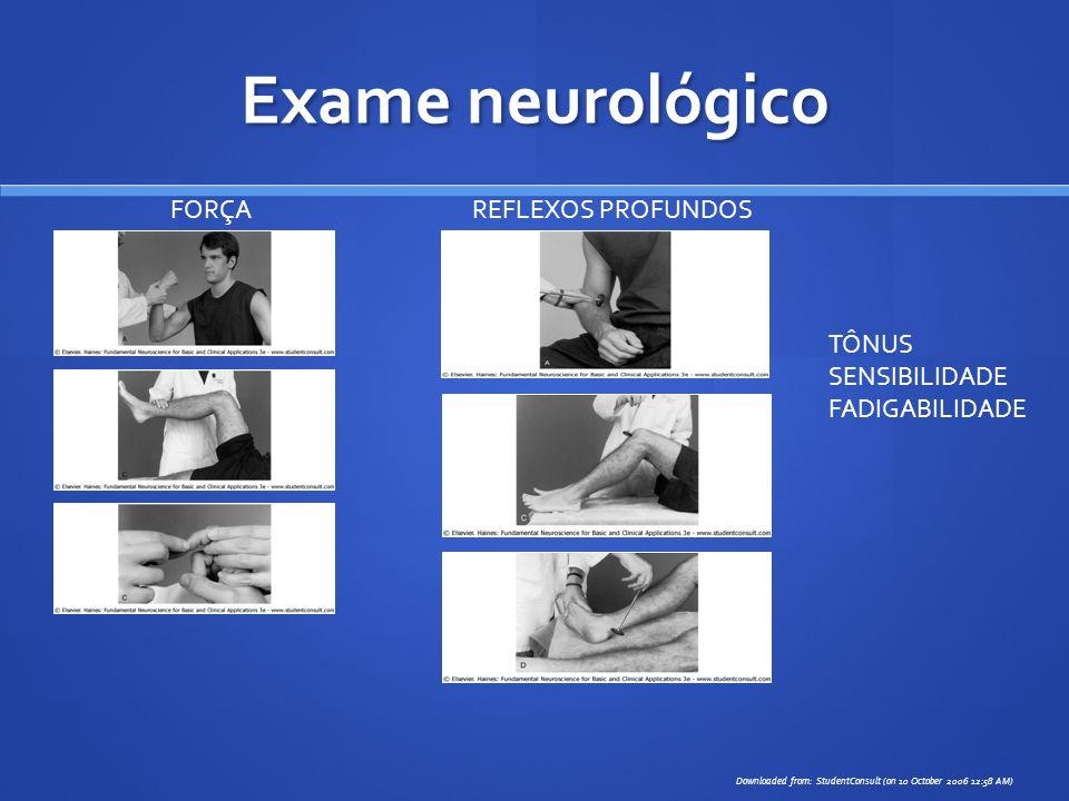 Exame neurológico FORÇA REFLEXOS PROFUNDOS TÔNUS SENSIBILIDADE