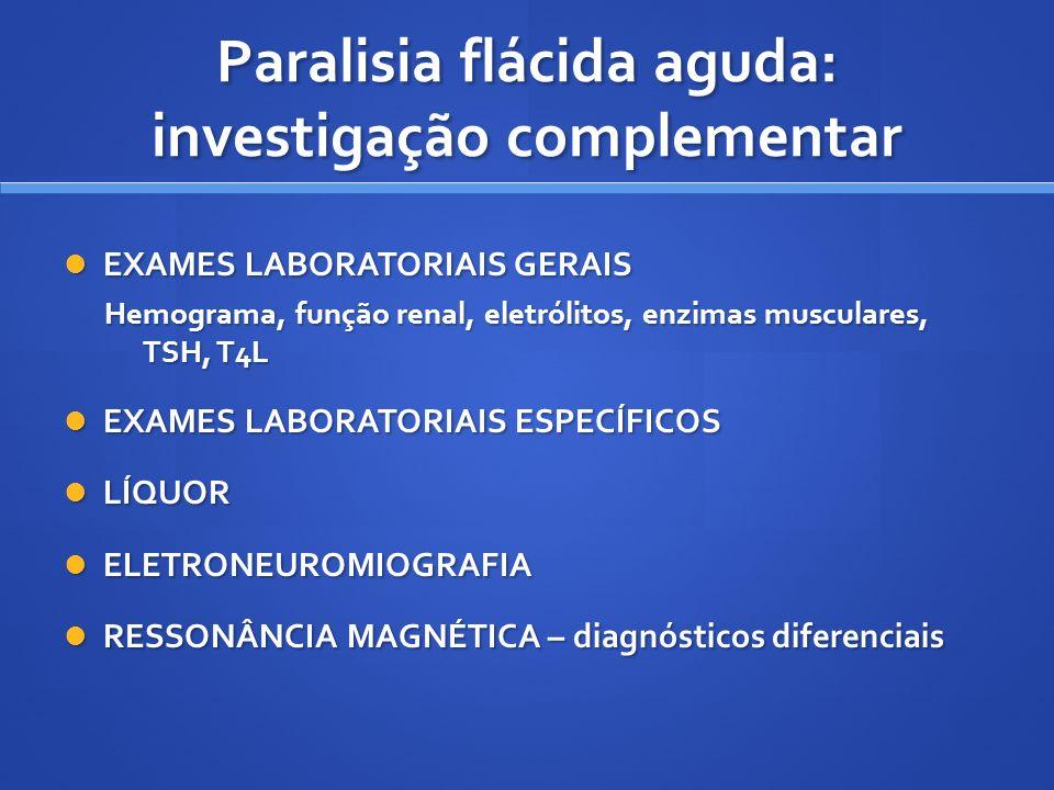 Paralisia flácida aguda: investigação complementar