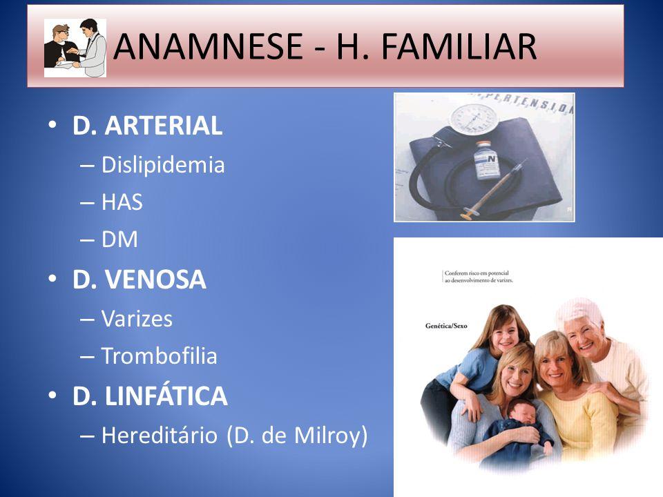 ANAMNESE - H. FAMILIAR D. ARTERIAL D. VENOSA D. LINFÁTICA Dislipidemia
