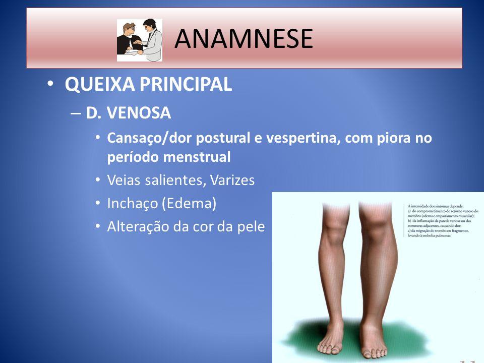 ANAMNESE QUEIXA PRINCIPAL D. VENOSA