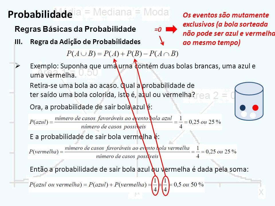 Probabilidade Os eventos são mutamente exclusivos (a bola sorteada não pode ser azul e vermelha ao mesmo tempo)