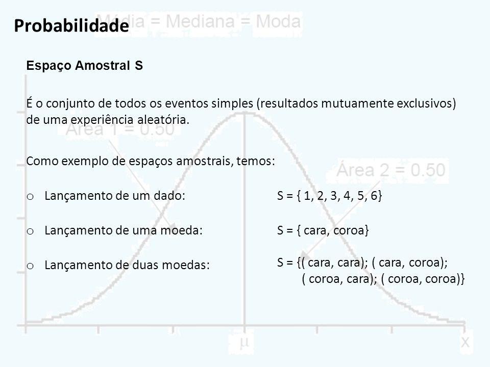 Probabilidade Espaço Amostral S. É o conjunto de todos os eventos simples (resultados mutuamente exclusivos) de uma experiência aleatória.