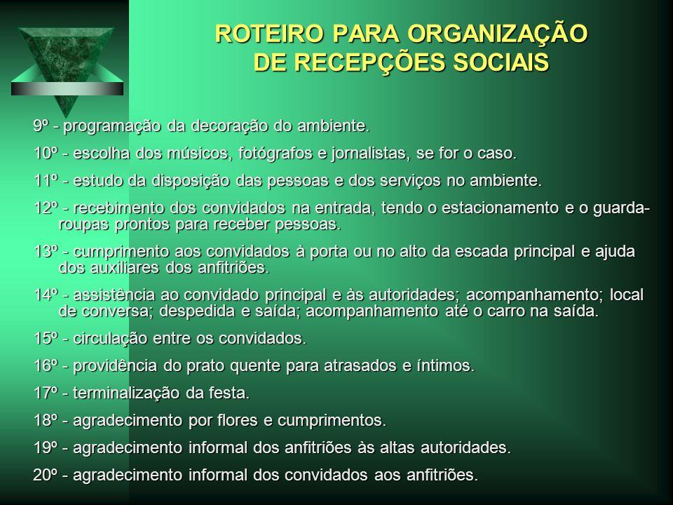 ROTEIRO PARA ORGANIZAÇÃO DE RECEPÇÕES SOCIAIS