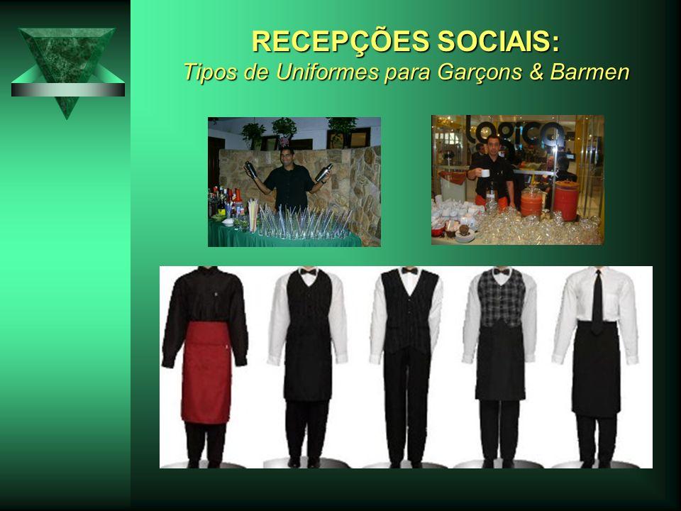 RECEPÇÕES SOCIAIS: Tipos de Uniformes para Garçons & Barmen