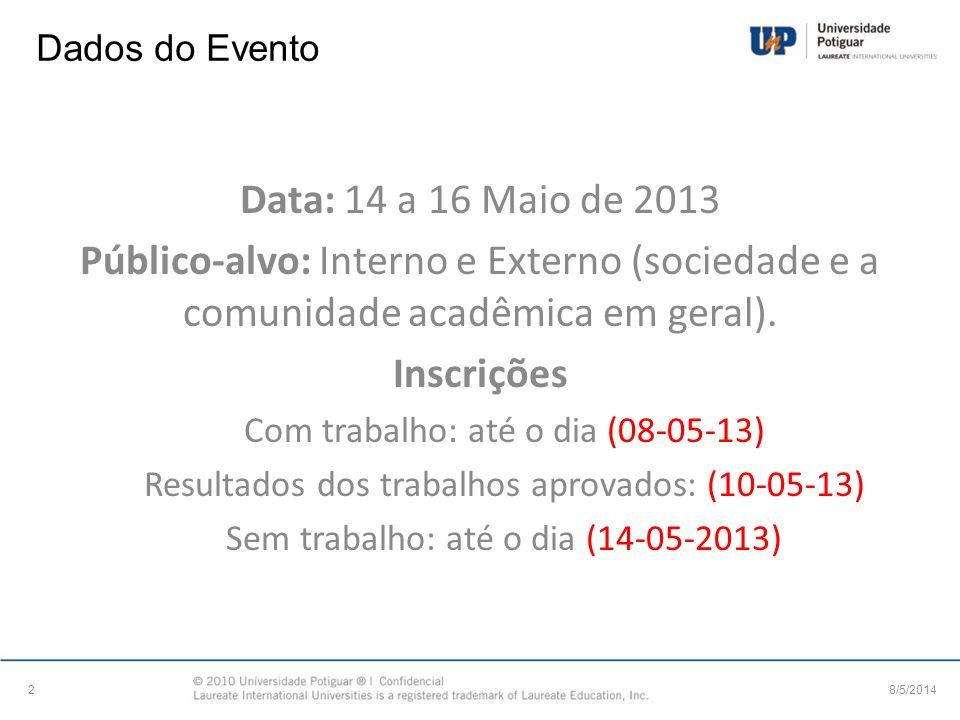 Dados do Evento Data: 14 a 16 Maio de 2013. Público-alvo: Interno e Externo (sociedade e a comunidade acadêmica em geral).
