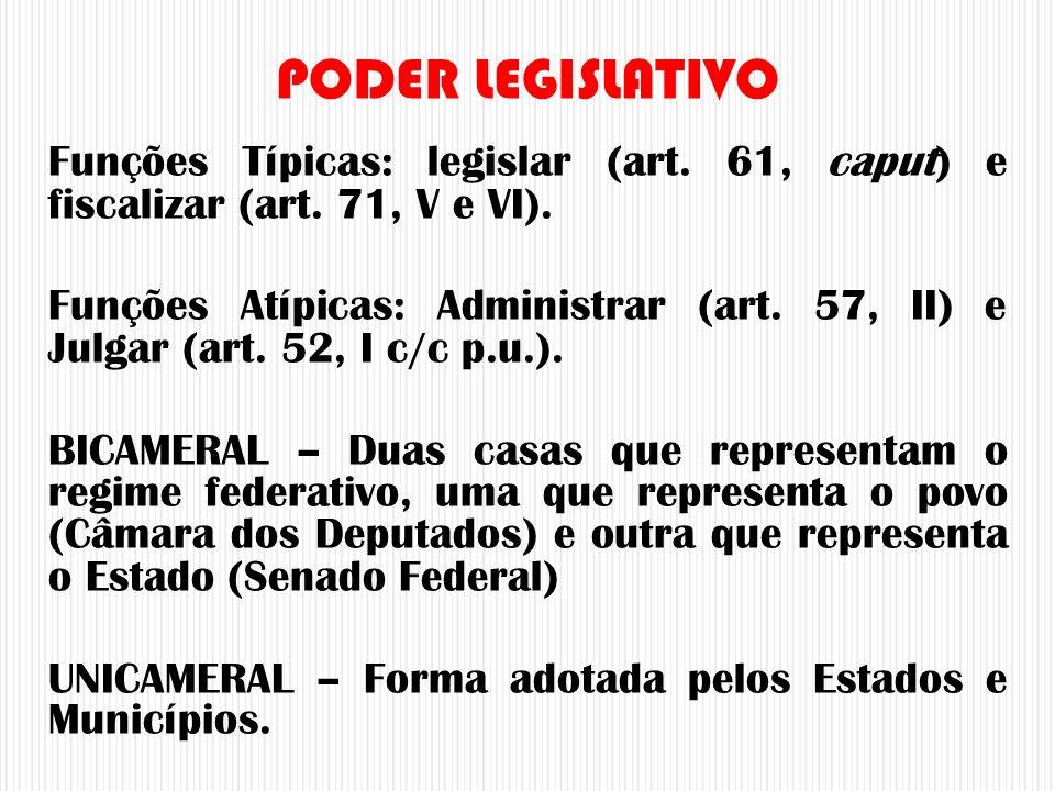 PODER LEGISLATIVO Funções Típicas: legislar (art. 61, caput) e fiscalizar (art. 71, V e VI).