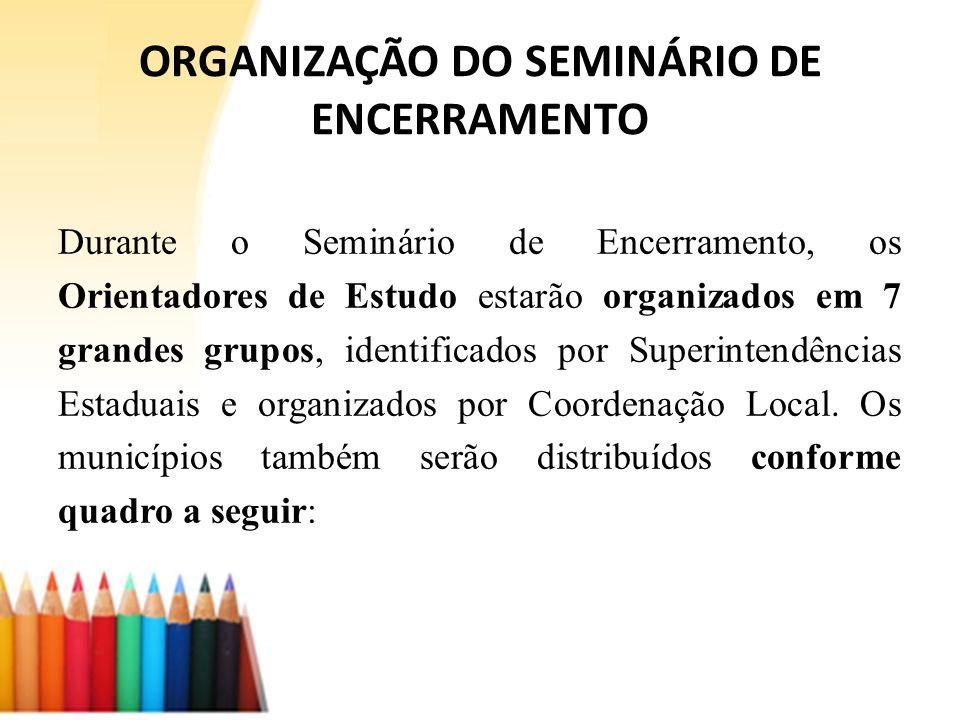 ORGANIZAÇÃO DO SEMINÁRIO DE ENCERRAMENTO