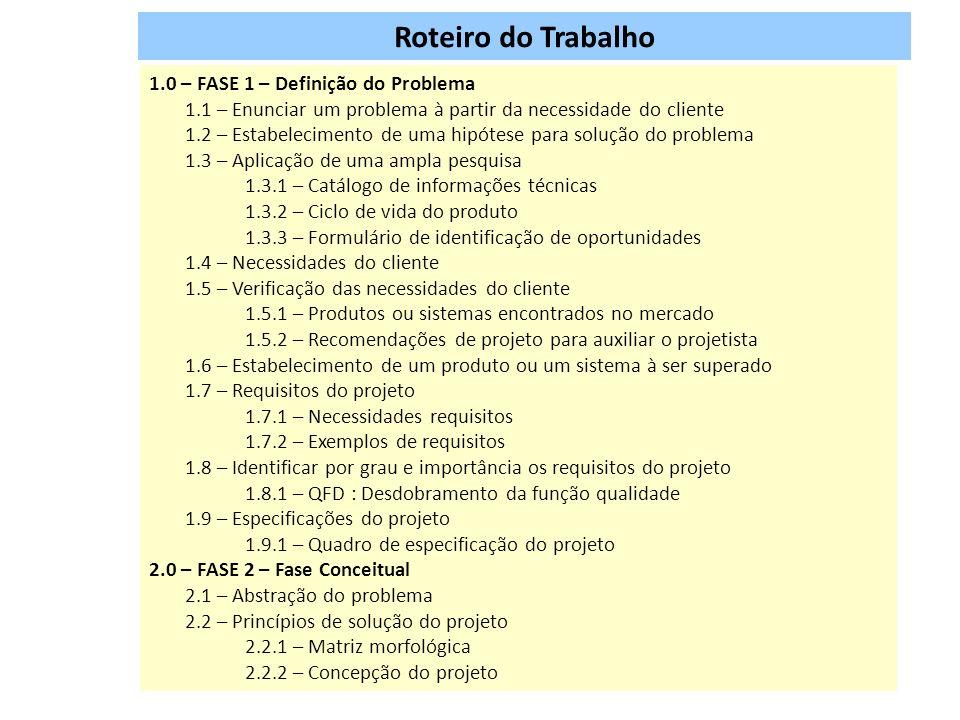 Roteiro do Trabalho 1.0 – FASE 1 – Definição do Problema