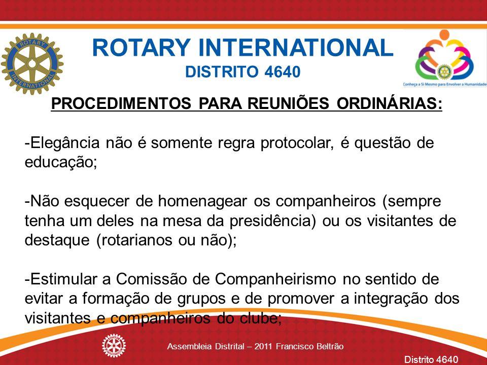 PROCEDIMENTOS PARA REUNIÕES ORDINÁRIAS: