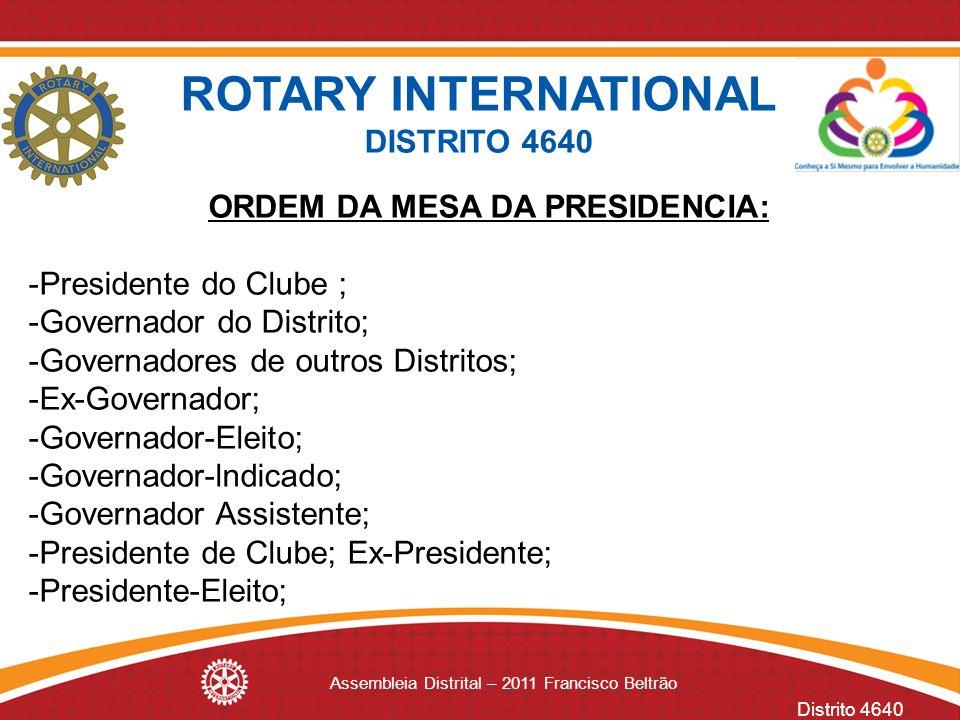 ORDEM DA MESA DA PRESIDENCIA: