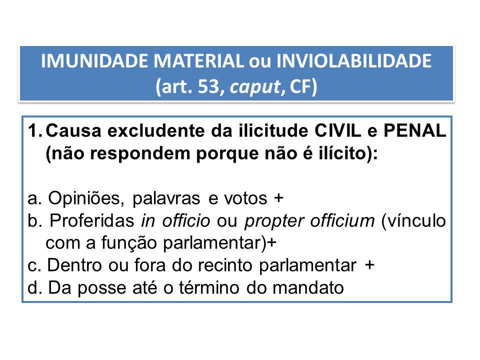 IMUNIDADE MATERIAL ou INVIOLABILIDADE (art. 53, caput, CF)