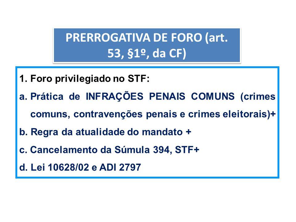 PRERROGATIVA DE FORO (art. 53, §1º, da CF)