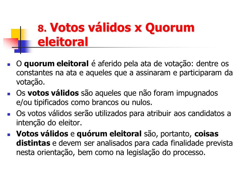 8. Votos válidos x Quorum eleitoral