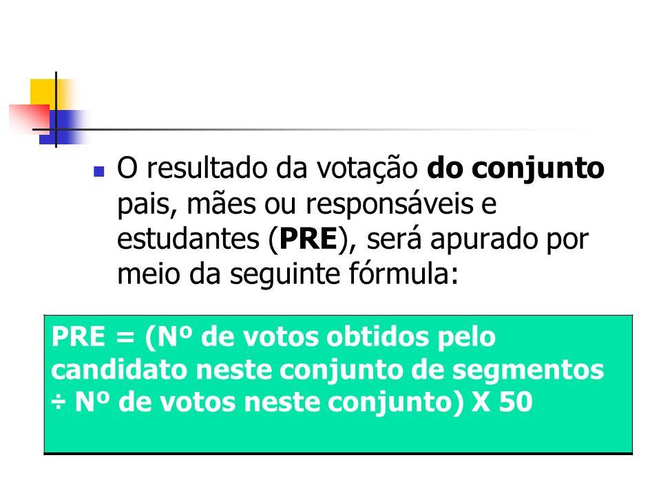 O resultado da votação do conjunto pais, mães ou responsáveis e estudantes (PRE), será apurado por meio da seguinte fórmula: