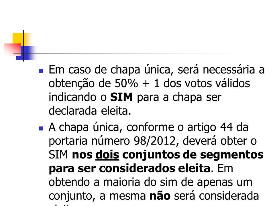 Em caso de chapa única, será necessária a obtenção de 50% + 1 dos votos válidos indicando o SIM para a chapa ser declarada eleita.