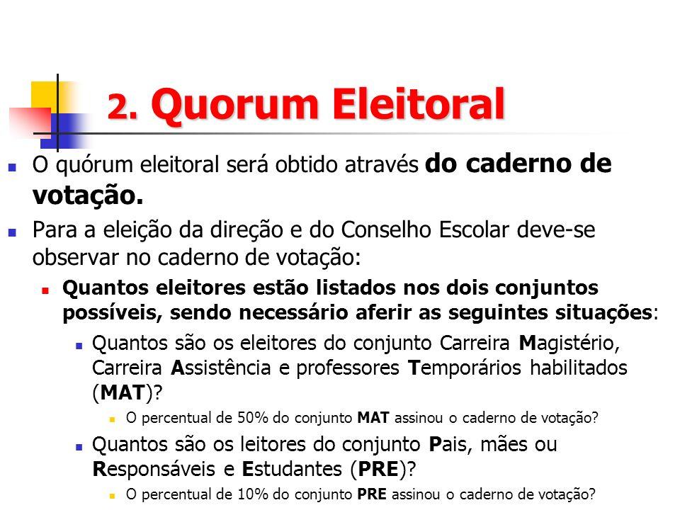 2. Quorum Eleitoral O quórum eleitoral será obtido através do caderno de votação.