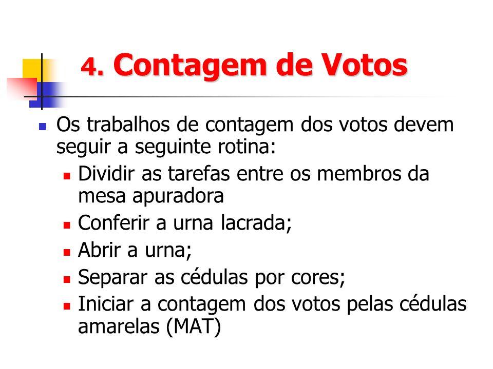 4. Contagem de Votos Os trabalhos de contagem dos votos devem seguir a seguinte rotina: Dividir as tarefas entre os membros da mesa apuradora.