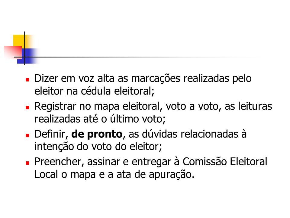 Dizer em voz alta as marcações realizadas pelo eleitor na cédula eleitoral;