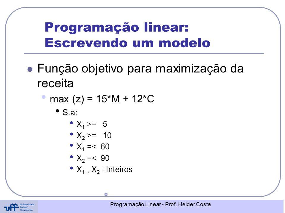 Programação linear: Escrevendo um modelo