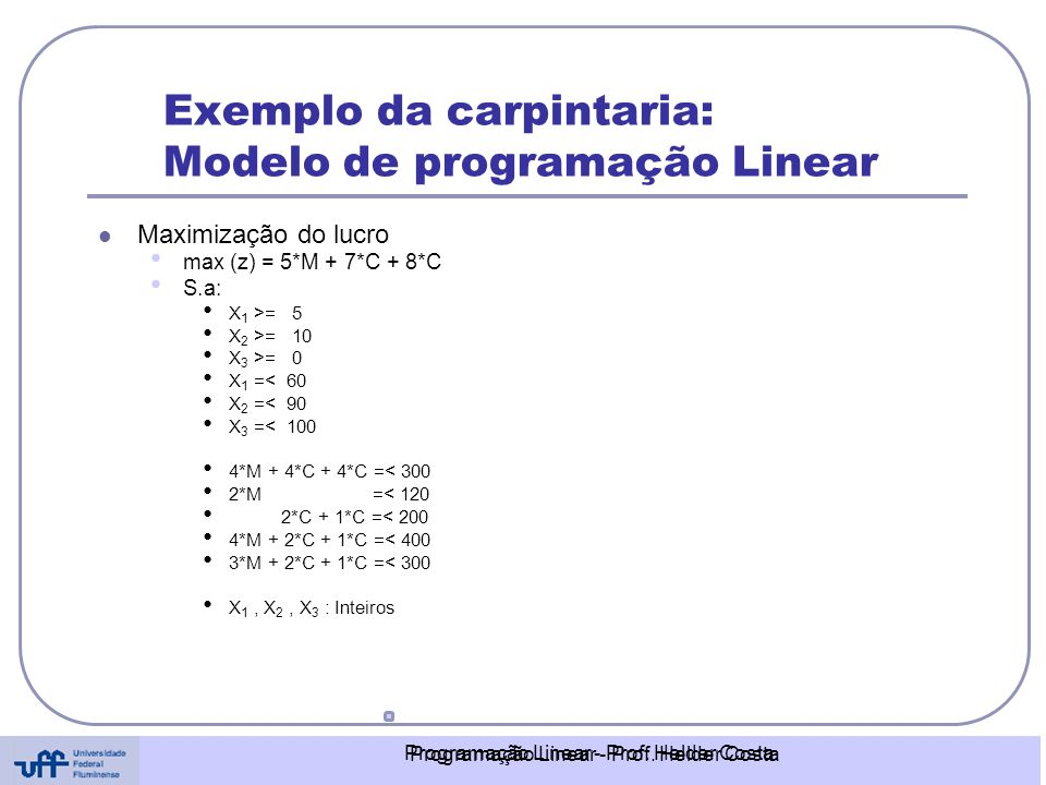 Exemplo da carpintaria: Modelo de programação Linear