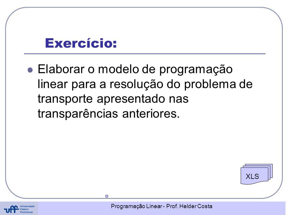Exercício: Elaborar o modelo de programação linear para a resolução do problema de transporte apresentado nas transparências anteriores.
