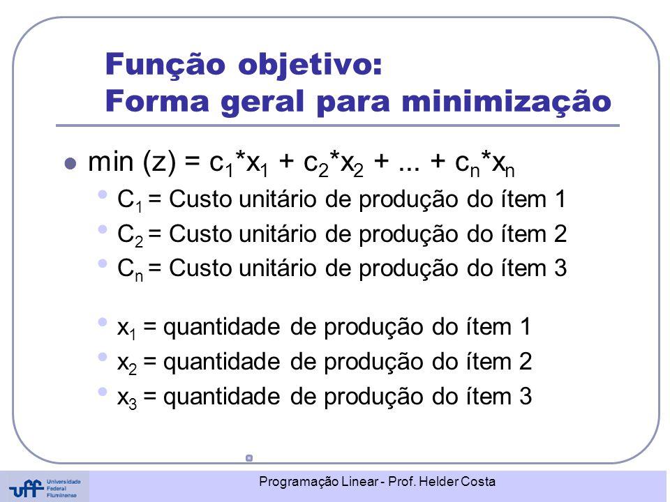 Função objetivo: Forma geral para minimização
