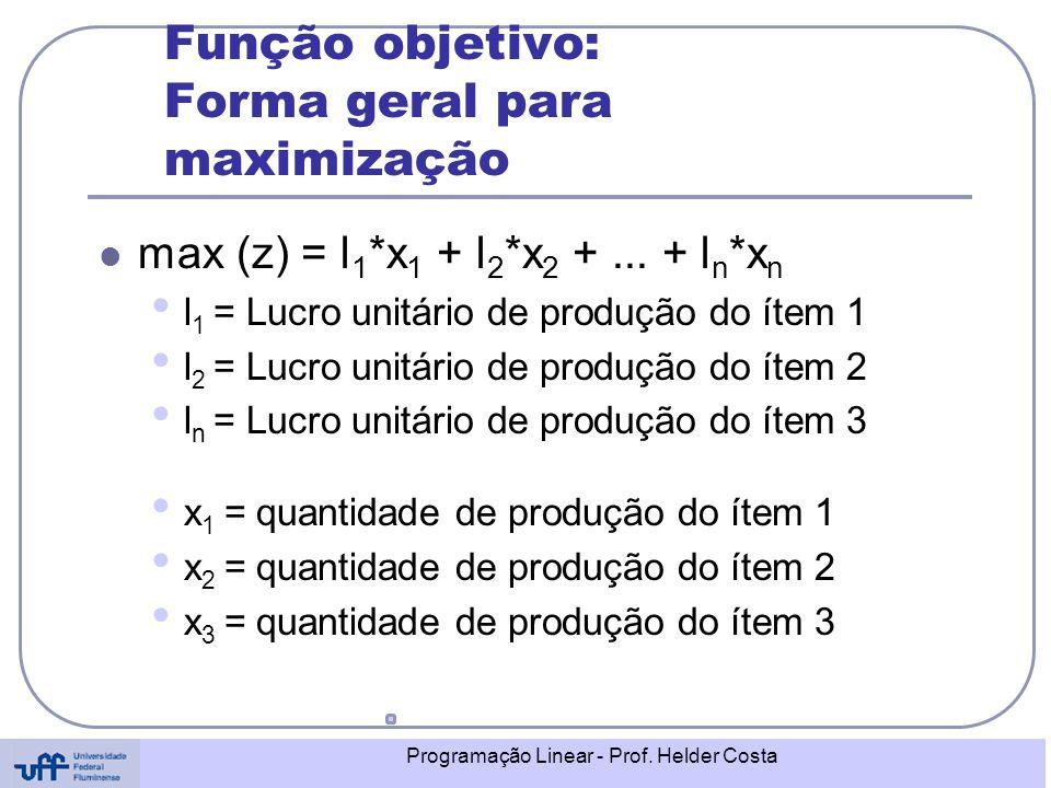 Função objetivo: Forma geral para maximização