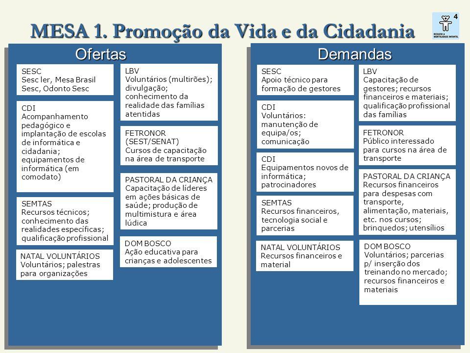 MESA 1. Promoção da Vida e da Cidadania