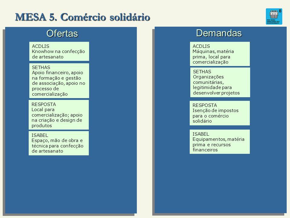 MESA 5. Comércio solidário