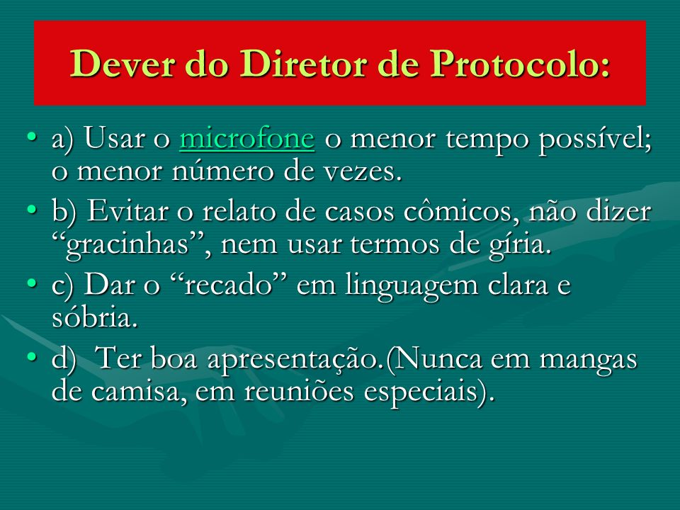 Dever do Diretor de Protocolo: